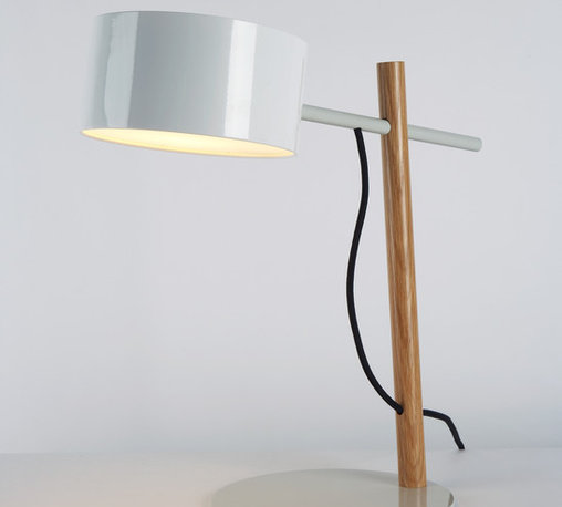 Excel Desk Lamp - White - Spare and economical in form, Excel is a family of fixtures made from simple, elegant structures with illuminated shades. Inspired by the colorful lines and charts of the software program by the same name, the full Excel family includes the table lamp, wall sconce, floor lamp and chandelier. By Rich Brilliant Willing for Roll & Hill. Photo credit: Joseph de Leo