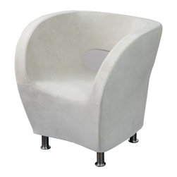 Great Deal Furniture - Moda Modern Tub Design Ivory White Microfiber Accent Chair - Featuring a Retro Modern look Moda Accent Club Chair was designed with comfort and space in mind. This amazing accent chair will make a distinct statement in your living space. Featuring a modern styling with a tub design, this accent chair is upholstered in soft an inviting ivory white microfiber which brings about a classy appeal in your indoor spaces. The comfort of the Moda Accent Club Chair is extraordinary and you would love to spend your time enjoying its relaxation experience.