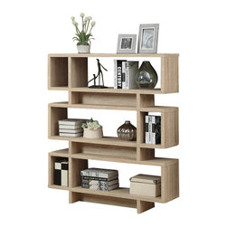 Monarch Specialties - Monarch Specialties 3210 Bookcase in Natural with Chrome Metal - Add a modern edge to your home with this sleek polished chrome accented bookcase and natural reclaimed wood-look shelves. Ample storage space with an open feel will give this bookcase a modern appeal and brighten any room.