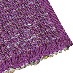 "Blu Dot - ""Blu Dot Last Newspaper - 6' x 9' Rug, Purple"" - ""Yesterday's news recycled and cotton-wrapped to form flooring with interesting visual content.  Available in three sizes (4' x 6', 6' x 9, and 9' x 9') and three colors (grey, purple and slate)."""