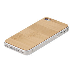 Lazerwood - Bamboo iPhone Cover - Low profile, real wood veneer cover for iPhone. Peel-and-stick backing makes the cover easy to apply and remove without damage to the phone. Designed and made in Seattle, WA.