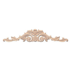 """Inviting Home - Santa-Cristina Medium Wood Carving - Maple - Wood carving in hard maple 3-13/16""""H x 18-11/16""""W x 1/2""""D Wood carvings are hand carved in deep relief design from premium selected North American hardwoods such as alder beech cherry hard maple red oak and white oak. They are triple sanded and ready to accept stain or paint. Hardwood carvings are perfect for wall applications finishing touches on the custom cabinets or creating a dramatic focal point on the fireplace mantel."""