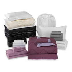 Bed Bath & Beyond Service - Solid Plum/Purple 21-Piece Classic Dorm Room Kit - The Solid Plum/Purple classic dorm room kit is the perfect solution for outfitting your dorm room in convenience and comfort. It features a wide range of bedding essentials with storage for laundry, books, and more.