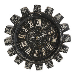 A&B Home - Roman Numeral Gear Clock - Turn back time on your home's décor with this rustic, vintage clock.   16'' diameter Metal Imported