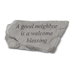 Kay Berry - A Good Neighbor Is A Blessing Garden Stone Multicolor - 75920 - Shop for Statues and Sculptures from Hayneedle.com! Treat your garden as you would treat your neighbor with the A Good Neighbor Is A Blessing Garden Stone. This garden stone is constructed of cast stone that will not crack or chip and is extremely weather-resilient. The natural carved blends easily to any garden or brings an alfresco air to any indoor space.About Kay Berry ProductsProudly hand-cast in the USA Kay Berry products offer kind sentiments and quality decor. From whimsical to poignant the verses on Kay Berry products are thoughtful and serve as a fine way to add both beauty and comfort wherever they're placed. Artisans craft Kay Berry designs from actual stone originals. Kay Berry products are meticulously reproduced using materials and methods developed in ancient Rome. Since the family-owned company's inception in 1991 pride and honor go into each and every Kay Berry item.Please note this product does not ship to Pennsylvania.