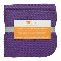 MU Kitchen Grape Waffle Microfiber Dishcloth Set - These beautiful MU kitchen waffle microfiber towels are made from the revolutionary microfiber  a specially designed cloth that is woven in a unique pattern from polyester fibers that create tiny scoops that suck up dirt and attract micro-particles. Microfiber is softer than silk and stronger than cotton. The cloth is so well crafted  it renders harsh cleaning chemicals entirely unnecessary.Product Features                      Set of 3 - 12 x 12 in. dish towels           Waffle microfiber          Extremely absorbent and quick drying          Lint free and amazingly soft          Clean and polish wet or dry          Reduces bacteria growth with quick drying time          Finished with a hanging loop for convenience