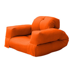 Fresh Futon - Hippo Convertible Futon Chair/Bed, Orange Mattress - Unlike its animal counterpart the Hippo is sure to be a space-saving marvel in any room folding from a cozy chair to a plush mattress than can be stored under most beds.. Available in 9 twill fabric color options.