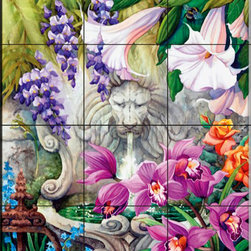 The Tile Mural Store (USA) - Tile Mural - A Secret Garden - Kitchen Backsplash Ideas - This beautiful artwork by Nancy Wernersbach has been digitally reproduced for tiles and depicts a lion fountain in a beautiful garden surrounded by flowers.  This garden tile mural would be perfect as part of your kitchen backsplash tile project or your tub and shower surround bathroom tile project. Garden images on tiles add a unique element to your tiling project and are a great kitchen backsplash idea. Use a garden scene tile mural for a wall tile project in any room in your home where you want to add interesting wall tile.