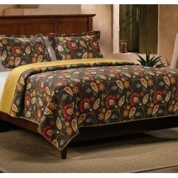 Greenland Home Fashions Moraga Quilt Set - The sprawling pattern and rich, contrasting colors of the Greenland Home Fashions Moraga Quilt Set make us wish that leafy-viney goodness was a more common decorating style. This appealing set includes a comforter and one or two shams (depending on the size you choose). The comforter and shams feature a cotton face, back, and fill with machine-quilted stitching for added durability and a richer texture. The comforter has a single-color reverse that really stands out when it's time to turn the bed down. Each piece in this set is pre-washed and pre-shrunk, and the comforters are all oversized to accommodate today's deeper mattresses.Product Dimensions:Twin comforter: 88L x 68W in. Full/queen comforter: 90L x 90W in.King comforter: 95L x 105W in.Small sham: 20L x 26W in.Large sham: 20L x 36W in.About Greenland Home FashionsFor the past 16 years, Greenland Home Fashions has been perfecting its own approach to textile fashions. Through constant developments and updates - in traditional, country, and more modern styles – the company has become a leading supplier and designer of decorative bedding to retailers nationwide. If you're looking for high-quality bedding that not only looks great but is crafted to last, consider Greenland.