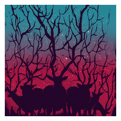 Sharp Shirter - Deer Forest Shower Curtain - Heres a case where we are struck by the beauty of a group of deer in the middle of the night. We want to go closer to see them, but we know they'll run away as soon as we make a move.