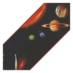 York Wallcoverings - Black Solar System Planets Prepasted Wall Border Roll - Features: