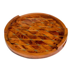 "Moroccan Buzz - Moroccan Thuya Wood Serving Tray - ""Serve refreshments with flair on a handcrafted Moroccan Thuya wood tray. The distinctive inlaid wood design, rich burl grain and lustrous finish make this a special gift or accessory for your home. The exotic Thuya tree, native to the Middle Atlas Mountains, has been used for centuries by Moroccan woodcraft artisans. Thuya wood burls, the knobby outgrowths of the trunk or branches, produce beautiful and interesting wood grains which make every piece truly unique. The wonderful cedar-like aroma of Thuya wood lasts for years. Our Thuya wood pieces were handcrafted by artisans in the coastal town of Essaouira, close to the source of the Thuya wood, and renowned for its talented woodworkers."""