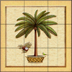 The Tile Mural Store (USA) - Tile Mural - Coconut Palm 1   - Kitchen Backsplash Ideas - This beautiful artwork by Dan Morris has been digitally reproduced for tiles and depicts a framed palm tree.  With our enormous selection of tile murals of tropical plants and flowers you can bring your kitchen backsplash tile project to life. A decorative tile mural with plants and flowers is an impressive kitchen backsplash idea and decorative flower tiles also work great in the bathroom. Add splashes of color and life to your tile project with images of flowers on tiles and tiles with pictures of plants.