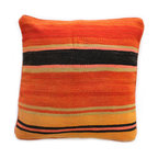 Baba Souk - Orange Striped Kilim Pillow - While in Marrakesh, I noticed a new trend, these wonderful pillows with colorful candy stripes! While wandering through the souk and visiting the coolest riads, (which are traditional guesthouses usually decorated with great folkloric finds, the hippest places to stay when traveling to Marrakesh) these beautiful pillows with colorful stripes were calling my name!