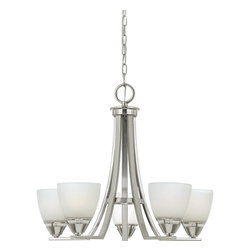 Quoizel - Quoizel IE5005BN Ibsen Modern / Contemporary Chandelier - The modern, angular lines of this design take on a timeless architectural form.  The simplicity of structure highlights the fine craftsmanship and sleek brushed nickel finish.  The smooth, opal etched glass shades illuminate your home with soft contemporary style.