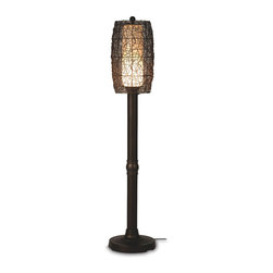 Patio Living Concepts - Patio Living Concepts Bristol Bristol 70 Inch Floor Lamp w/ 3 Inch Bronze Tube B - 70 Inch Floor Lamp w/ 3 Inch Bronze Tube Body & Random Weave Walnut Wicker Barrel Shade belongs to Bristol Collection by Patio Living Concepts Hand woven random weave walnut PVC wicker barrel shade enclosing an opal cylinder of light highlights this carefree durable contemporary outdoor lamp. Features weatherproof all resin construction with heavy weighted base, two level dimming switch and 12 ft. weatherproof cord and plug. Durable acrylic waterproof light bulb enclosure allows the use of a standard 100 watt light bulb. Model # 68267 Lamp (1)