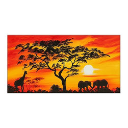 """Fabuart - """"African Sunset"""" - Sunset African Painting - 32x16in - This beautiful Art is 100% hand-painted on canvas by one of our professional artists. Our experienced artists start with a blank canvas and paint each and every brushstroke by hand.  This painting is also available in Large Size."""