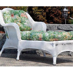 Casual Decor by Kaven - Sahara Chaise Lounge with Hampton Bay Cushion - White - Traditional styling. UV protected resin wicker over a powder coated steel frame. White Wicker Chaise