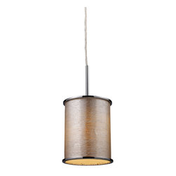 Elk Lighting - Elk Lighting 20042/1 Fabrique 1-Light Drum Pendant in Polished Chrome & Silver S - 1-Light Drum Pendant in Polished Chrome & Silver Streak Shade belongs to Fabrique Collection by The Drum Pendant Collection Offers A Vast Selection Of Elegant Lighting Fixtures That Will Update Any decor. Choose From Three Sizes And A Host Of Luxurious Fabrics. Each Drum Has Chrome Plated Metal Border Rings And A Translucent Diffuser. Pendant (1)