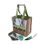 Picnic & Beyond - Garden Carry Bag with Tool Set - No more trips back and forth through the yard, the garden carry bag keeps everything you need for expert gardening right at your fingertips.   Roomy canvas tote features double carry straps with reinforced handle, and outside pockets neatly store all the necessary tools. Garden tool set includes:. 1 trowel. 1 transplanter. 1 digger. 1 rake. 1 weeding fork. 1 clipper. 1 50M Bind line. 1 pair cotton gloves. Striped Polyester material. 8.66 in. D x 12.6 in. W x 11.81 in. H (3.31 lbs.)This garden tool bag is smaller and lighter than others with a full set of tools and pair of soft cotton garden gloves.  Tools sit in easy outside pockets with room inside for additional garden items.