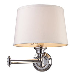 Elk Lighting - Elk Lighting Westbrook Transitional Swing Arm Wall Sconce X-1/01211 - The Westbrook Collection Uses The Swing Arm Concept On Chandeliers, Allowing The Diameter To Be Adjusted To Fit Your Decor. This Unique Feature Puts Light Where You Need It, When You Need It. This Fixture Offers Versatility Coupled With A Sleek Design. Available In Polished Chrome With A White Hardback Shade Or Antique Brass With A Cream Shade.