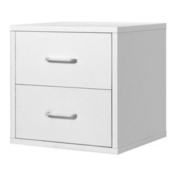 Foremost - Modular 2-Drawer Cube White - Take care of your storage needs with the 2-drawer cube. Whether you are storing clothes, papers or toys, this 2-drawer storage cube has plenty of room for your belongings. The convenient shape and clean, contemporary design fit well into any room. The exterior features a laminated finish for durability and good looks.