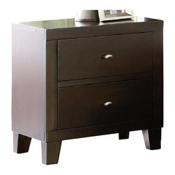 Coaster - Coaster Lorretta 2 Drawer Night Stand in Dark Brown Finish - Coaster - Nightstands - 201512 - Complement your bed with the contemporary styling of this two drawer night stand Block feet in a modern taper shape form a sturdy yet stylish base while two storage drawers offer ample space for placing books and everyday items neatly out of sight The bedside table's smooth rectangular surface is ideal for placing lamps or frames and highlights the rich depth of the dark brown finish that wraps the entire piece Brushed nickel finish hardware crowns each drawer with a chic contemporary finish