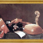 "Evaristo Baschenis-16""x24"" Framed Canvas - 16"" x 24"" Evaristo Baschenis Still-life with Musical Instruments framed premium canvas print reproduced to meet museum quality standards. Our museum quality canvas prints are produced using high-precision print technology for a more accurate reproduction printed on high quality canvas with fade-resistant, archival inks. Our progressive business model allows us to offer works of art to you at the best wholesale pricing, significantly less than art gallery prices, affordable to all. This artwork is hand stretched onto wooden stretcher bars, then mounted into our 3"" wide gold finish frame with black panel by one of our expert framers. Our framed canvas print comes with hardware, ready to hang on your wall.  We present a comprehensive collection of exceptional canvas art reproductions by Evaristo Baschenis."