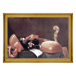 """Evaristo Baschenis-16""""x24"""" Framed Canvas - 16"""" x 24"""" Evaristo Baschenis Still-life with Musical Instruments framed premium canvas print reproduced to meet museum quality standards. Our museum quality canvas prints are produced using high-precision print technology for a more accurate reproduction printed on high quality canvas with fade-resistant, archival inks. Our progressive business model allows us to offer works of art to you at the best wholesale pricing, significantly less than art gallery prices, affordable to all. This artwork is hand stretched onto wooden stretcher bars, then mounted into our 3"""" wide gold finish frame with black panel by one of our expert framers. Our framed canvas print comes with hardware, ready to hang on your wall.  We present a comprehensive collection of exceptional canvas art reproductions by Evaristo Baschenis."""