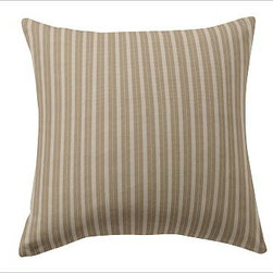 """Custom Fabric 24"""" Pillow Cover, Knife-Edge, Colby Stripe Khaki - Create beautiful custom pillows with your choice of over 75 high-quality upholstery fabrics. Square: 18"""" or 24""""  Lumbar: 8"""" x 30"""" Bolster: 14"""" x 36"""" Reverses to same. Knife edge with hidden zipper closure; insert sold separately. Imported."""