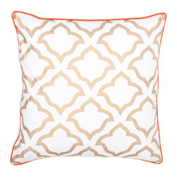 "Allem Studio - Allem Studio Jharokha Gold Pillow - The brilliant Jharokha throw pillow by Allem Studio offers a touch of modern glam. Its global-inspired floral tile pattern beams in metallic gold and crisp white. 20""W x 20""H; 100% cotton; Red orange piping; Solid white reverse; Silkscreen; Hidden zipper closure; Feather pillow insert included; Machine wash"