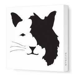 """Avalisa - Animal Face - Cat Stretched Wall Art, 18"""" x 18"""", Black - If you're a cat person who can't abide too-cute kitty stuff, let it be known with this art piece. Clever design, enigmatic expression and the sleek look of stretched, unframed fabric combine for a fun yet sophisticated style statement."""