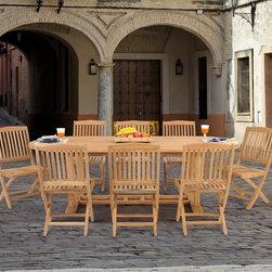 www.essentialsinside.com: teak 9pc folding chair patio dining set - **6 months no-interest financing available through PayPal**