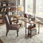 TRIBECCA HOME Myra Vintage Industrial Modern Rustic Oak Storage Desk -