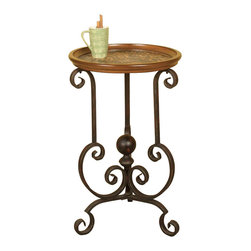 Passport - Leopard Spot Side Table - Animal print on top. Wood top with leopard spot inset. Scroll work on finial bottom. Easy to clean wipe with dry cloth. Made from metal. Oil rubbed bronze color. No assembly required. 18 in. Dia. x 28 in. H (16 lbs.)