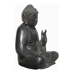 Golden Lotus - Big Black Lacquer Chinese Antique Wood Hand Carving Sitting Buddha Statue - Look at this peaceful Chinese antique black lacquer sitting Buddha which is made of solid elm wood.  This statue is different with the reproduction you see at the market.  You can see Buddha face and proportion which are perfect.  It should be gorgeous to put at your entrance hall way or living room.