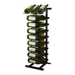 VintageView - 27 Bottle Point of Purchase Metal Wine Rack, Satin Black - A freestanding wine rack for a presentation and storage combo of 27 wine bottles. These modular wine racks may be connected side by side or back to back for a long countertop display row. Durable and sturdy racks keep wines safe while on display. Perfect for wine and liquor stores and hospitality locations!