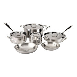 All-Clad - All-Clad Tri-Ply Stainless Steel 10 Piece Cookware Set (401488-R) - Timeless design, outstanding performance, effortless cleaning and lifetime durability come together to make the Stainless Collection cookware All-Clad's most popular. Featuring innovative bonded construction combining an interior layer of aluminum for even heating and an 18/10 stainless cooking surface for optimum culinary performance, All-Clad Stainless cookware is a classic expression of ideal form and function.
