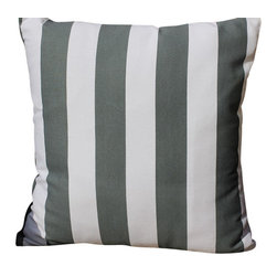Auburn Design Studio - Stripes Pillow, Gray/White - Cotton Printed pillow in Gray/White and Black/White colors. Stripes print front and back. Gray and Black colors look very pretty and elegant. Zipper attached for easy removing.