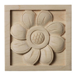 """Ekena Millwork - 3""""W x 3""""H x 5/8""""D Small Sunflower Rosette, Maple - Our rosettes are the perfect accent pieces to cabinetry, furniture, fireplace mantels, ceilings, and more.  Each pattern is carefully crafted after traditional and historical designs.  Each piece is carefully carved and then sanded ready for your paint or stain.  They can install simply with traditional wood glues and finishing nails."""