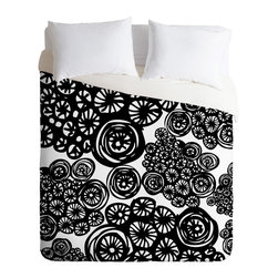DENY Designs - Julia Da Rocha Circo Doodles King Duvet Cover - A cyclone of swirling wheels animates this dynamic duvet cover designed by Julia Da Rocha. The striking black and white pattern is custom printed on soft, easy-care woven polyester. A hidden zipper makes it easy to remove the cover for cleaning. Need a little change of pace? The reverse side is solid white.