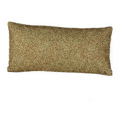 Brandi Renee Design - Gold Oblong Beaded Pillow - Our golden beaded pillow is a decorative piece with a variety of colored beads such as dark brown, bronze, gold and light brown that stand out among the surface of the pillow that give it a unique touch. On the back of the pillow is a smooth and sleek color of yellow gold silk with access to a zipper for the purpose of taking off the cover to be dry cleaned.