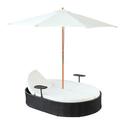 Nagoya Dual Outdoor Patio Chaise - Fragrant breezes waft gently by as you recline on the comfortable Nagoya outdoor set. Grace surrounds you while the easily folding umbrella provides shade from the sun. With two facing chaise lounges, communication is encouraged whilst in the midst of relaxation. Nagoya comes fully equipped with two height adjustable recliners, two beverage stands and a sun shade. The base is made of UV resistant rattan, a powder-coated aluminum frame and all-weather conditions. Nagoya is perfect for cafes, restaurants, patios, pool areas, hotels, resorts and other outdoor spaces.