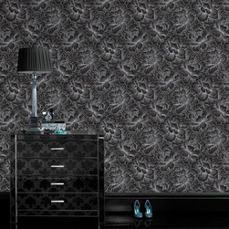 """Graham & Brown - Graham & Brown Superfresco Easy Flourish Black Wallpaper - Graham & Brown lends unique character to the home with sophisticated interior statements. The Superfresco Easy Flourish wallpaper enriches a living room or bedroom with a bold and lavish look. Beautiful and elegant, this wallcovering features a gorgeous silver metallic floral pattern against a black background. Samples are available on loan by contacting swatches@laylagrayce.com. Dye lots may vary slightly from sample. Because wallpaper is a final sale, we recommend your installer provide the total number of rolls needed. Wallpaper is sold by the single roll. 20""""W x 33""""H."""