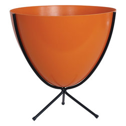 Hip Haven - Retro Bullet Planter by Hip Haven, Hot Orange, Medium - The Retro Bullet Planter by Hip Haven is a stylish addition to any space. Use it for plants, as an ice bucket, or to hold odds and ends. Our planter is an authentic reproduction of the vintage originals, in shape, size, and the distinctive texture of molded fiberglass. Bowls measure 15.75 inches across the top. Planters will tolerate covered outdoor conditions. Available in two sizes.