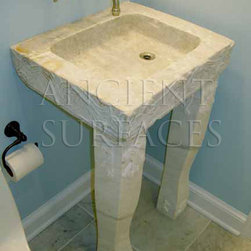 Small Powder Room Free Standing Limestone Sink - Those are the crème de la crème of ancient marble and stone sinks. Their composition, textures and subject are unique. If you want to own a fine sink that is both functional and art historic for your master bath, powder or kitchen look no further.