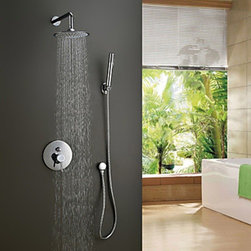 Shower Faucets - Contemporary Shower Faucet with 8 inch Shower Head & Hand Shower--FaucetSuperDeal.com