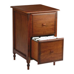 Office Star - Office Star Knob Hill 2 Drawer Vertical Wood File Storage Cabinet - Office Star - Filing Cabinets - KH30 - A classic country sophistication radiates from the Knob Hill file cabinet. Highlighted by its detail-carved legs and classic wood knob pulls the Knob Hill has a rural old-world charm for your workspace. An antique cherry finish completes the look of the Knob Hill file cabinet.