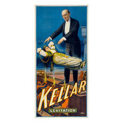 Kellar Levitation Print - Kellar on tour promotion his Levitation number. Original color lithograph at 213 x 101 cm. Created by the Strobrodge Litho, Co. of Cincinnati and New York in 1900.