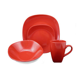 Lorren Home Trend - Lorren Home Trend 'Red' 16-piece Square Stoneware Dinnerware Set - This square dinnerware set is elegant,stylish,and ultra modern showcasing a red color design. This functional 16-piece dinnerware set is made of fine and durable stoneware that is both dishwasher and microwave safe.